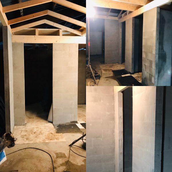 Vorderingen sanitair gebouw.